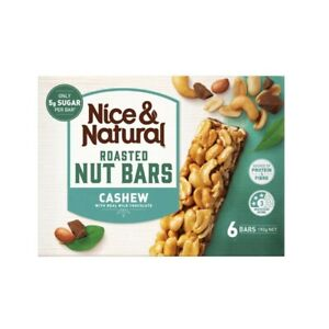 NEW-6Pc-Nice-amp-Natural-Roasted-Nut-Bars-Cashew-with-Real-Milk-Chocolate-192g