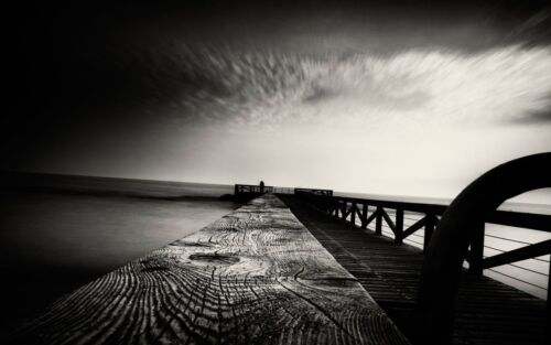 Black /& white ocean pier 03 Silk Cloth Poster 12x18 27x40 Deco