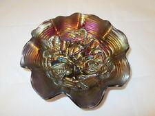 "Northwood Rose Show Purple Amethyst Carnival Glass Bowl Ruffled Rim 8-1/2"""