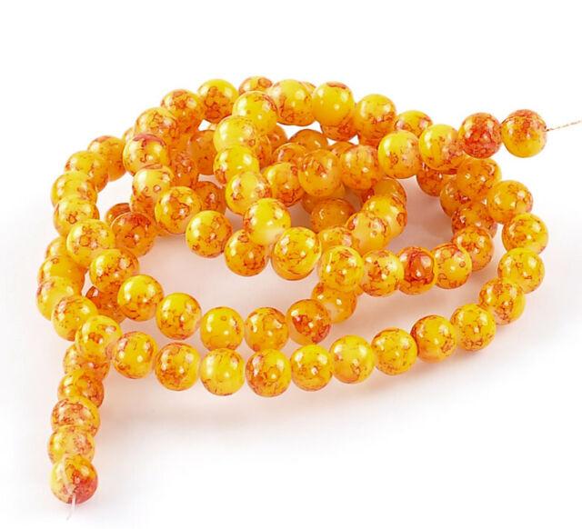 Sunshine Yellow and Crimson 8mm 20 Mottle Glass Beads BD246