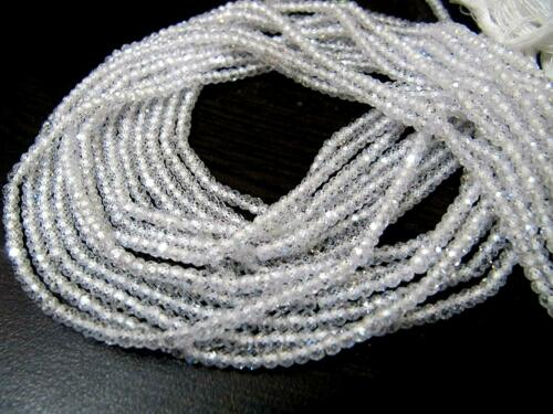 """Natural White Cubic Zirconia Faceted Roundell Beads 3 mm Blue Flashy 13/"""""""