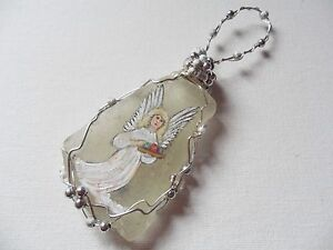 Angel bearing gifts Large Hand painted sea glass Christmas tree decoration
