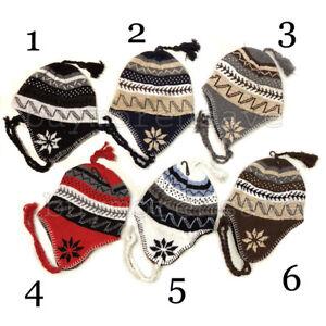 0abb6438f80 Winter Peruvian Ear Flap Ski Hat Lined Beanie Cap Snow Men s Pick ...