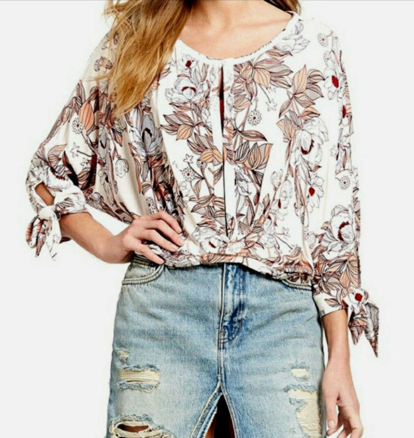 Free People OB749067 Floral Patterned Keepin On 3 4 Sleeve Tee Top Ballet Rosa