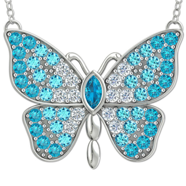 925 Sterling Silver Blue Opal White Cubic Zirconia Butterfly Pendant Necklace