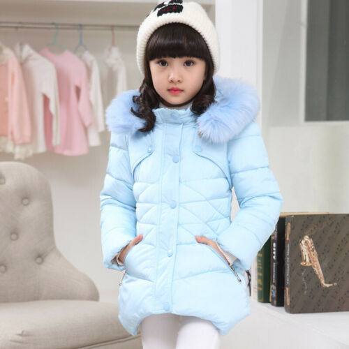 Winter Girls Kids Baby Padded Coat Jacket Faux Fur Hooded Long Parka Coat Warm