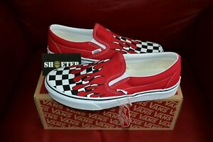 New-Vans-Checker-Flame-Slip-On-Racing-Red-White-Men-039-s-Women-039-s-Size-3-5-13