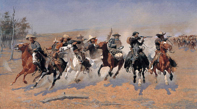 A DASH FOR THE TIMBER HORSE RIDERS INDIANS BY REMINGTON ON CANVAS REPRO LARGE