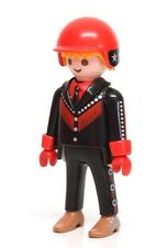 Playmobil Figure City Life Motorcycle Rider Biker Fringe Jacket Red Helmet 3062