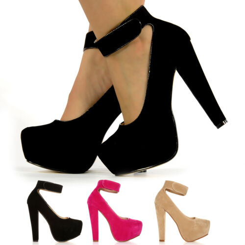 BNWT BIG BLOCK HIGH HEEL THICK ANKLE STRAP SHOES CONCEALED PLATFORM SUEDE PARTY