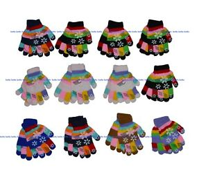 Boys-Girls-Children-Snowflakes-Stretchy-Magic-Gloves-Fits-Most-Kids-12-Pairs-NY