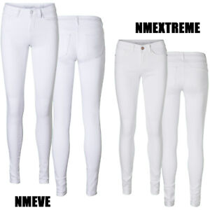 Noisy-May-Only-Damen-Skinny-Stretch-Jeans-Hose-Weiss-White-Weiss-Roehre-Slim-Neu