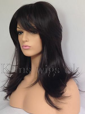 FULL WOMENS LADIES HAIR WIG DARK BROWN  FLICKED & LAYERED LONG B95 KIMS WIGS UK