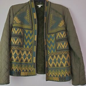 Tribal Jeans Womens Aztec Print Western Open Front Olive Jacket Fleece Lined M
