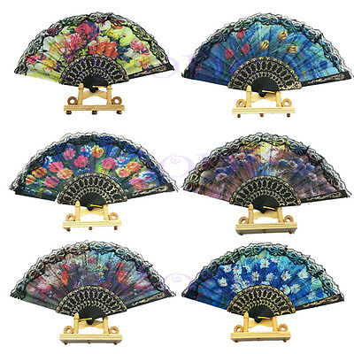 Vintage Flower Floral Fabric Lace Folding Hand Dancing Wedding Party Fan NEW