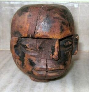 Indian-Antique-Hand-Carved-Tribal-Wooden-Man-Face