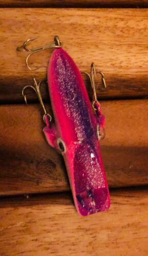 "Vintage Mercury Minnow Fishing Lure 3"" Three Hook Sparkle White with Purple"