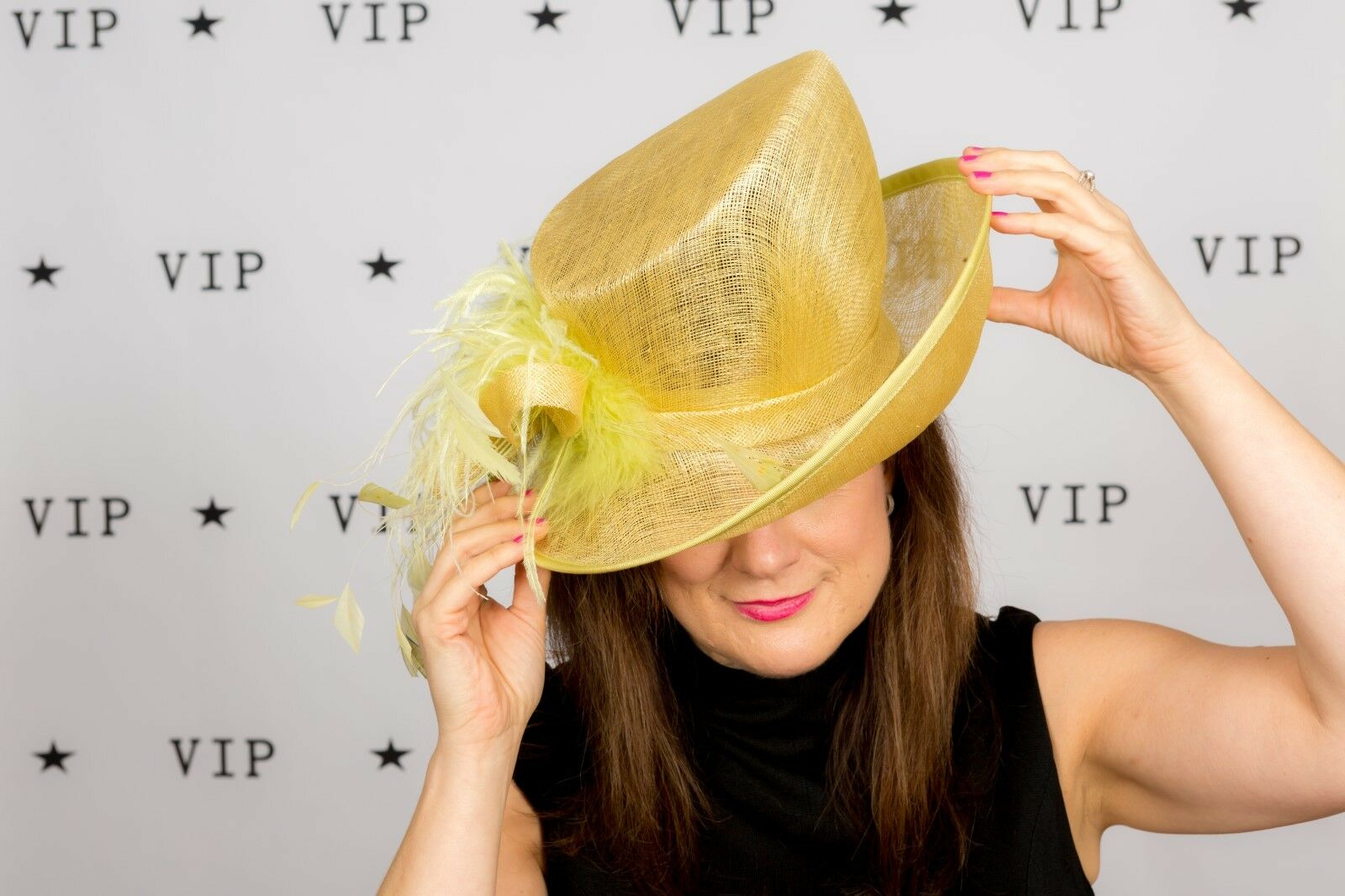 Pamela Bromley lime green ostrich feathered hat Wedding Races Ascot MOB
