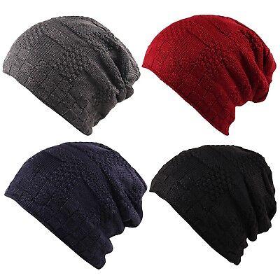 Unisex Ribbed Knit Faux Fleece Fur Warm Inner Lining Panel Slouch Beanie Ski Cap