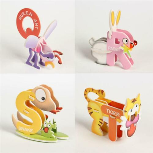 Child DIY Early Learning ABC Numbers Kids Toys Animal Shaped Paper Puzzle Toy Q