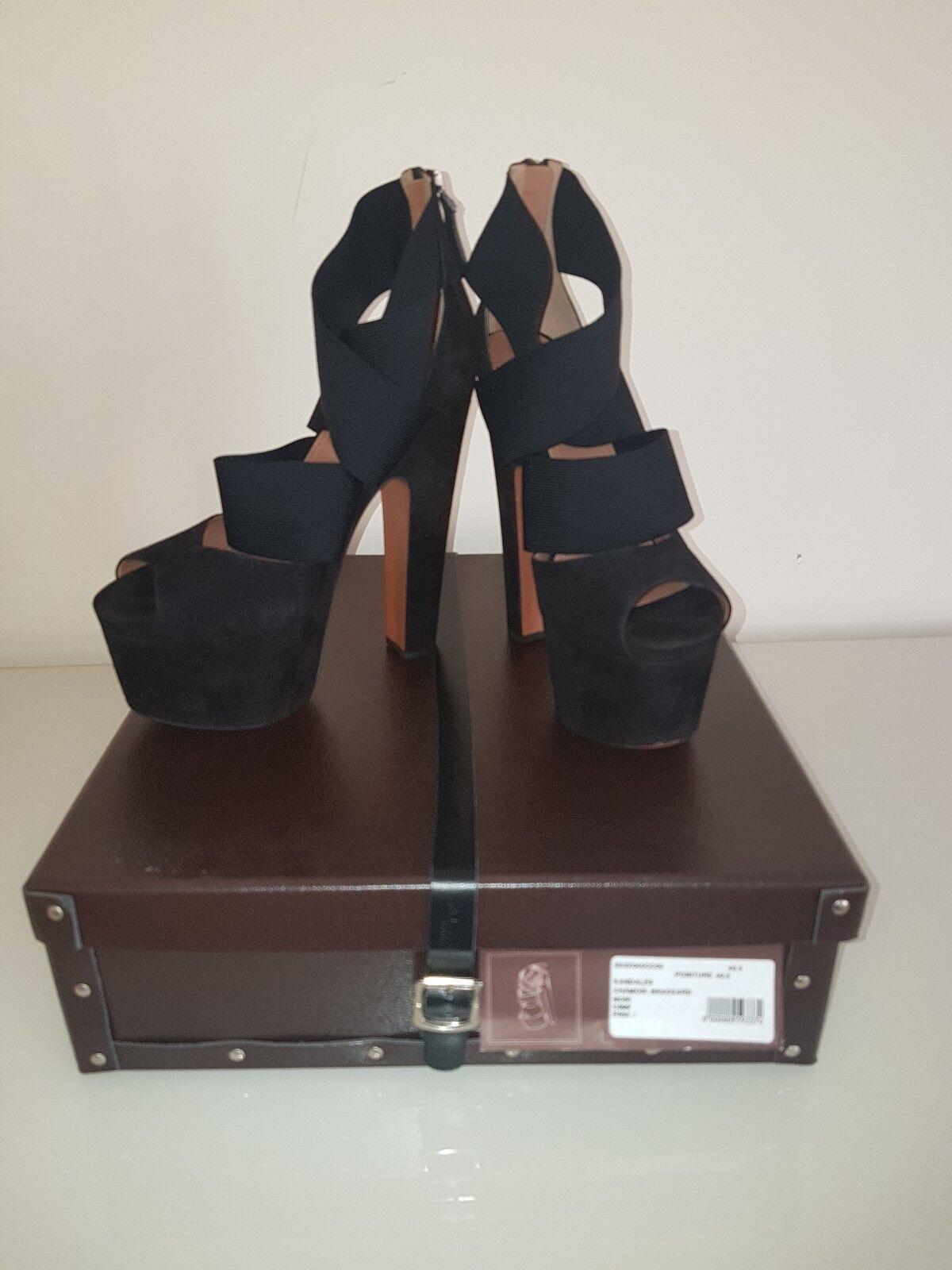 Azzedine Alaïa en daim noir talons talons talons compensés Sandale Pointure 7,5 NEUF 9e602a