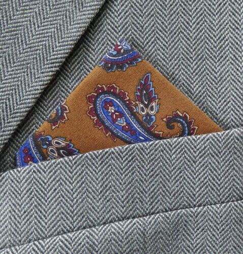 SUPERNOVA SCARVES Tan Brown /& Blue Paisley Pocket Square Handkerchief Mod Indie