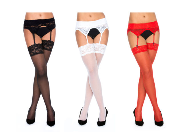 Sexy Lace Suspender Belt &  Lace Top Stockings Red, White, Black sizes- S,M,L