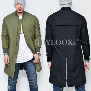 Street Edge Mens Loose Fit Military Long Flight Cargo Bomber Zip ...