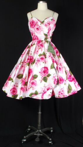 VTG 50s Pink & Green Abstract Floral Rose Print Su