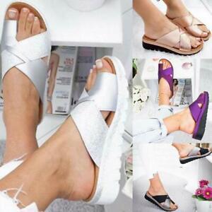 Women-Comfy-Platform-Sandal-Shoes-PU-LEATHER-Bunion-Corrector-Summer-Fashion