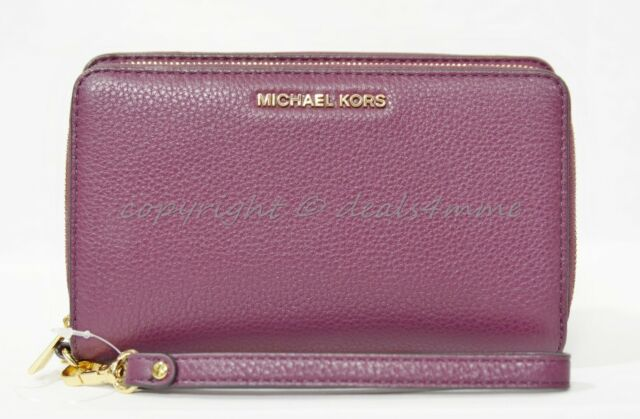 98acb9dd917b NWT Michael Kors Adele Large Leather Smartphone Wallet/Wristlet in Plum