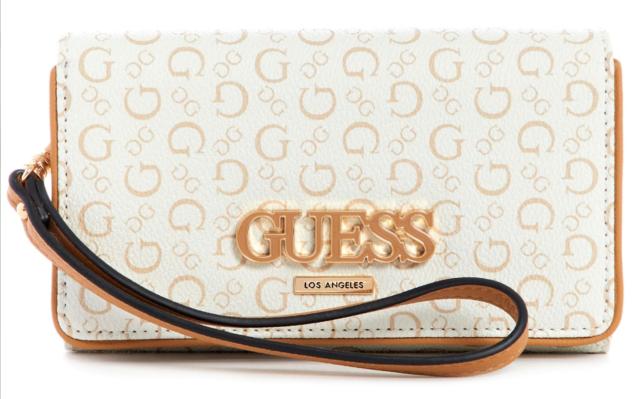 NWT GUESS CONLEY PHONE WRISTLET WALLET Grey Black Logo Clutch Purse GENUINE