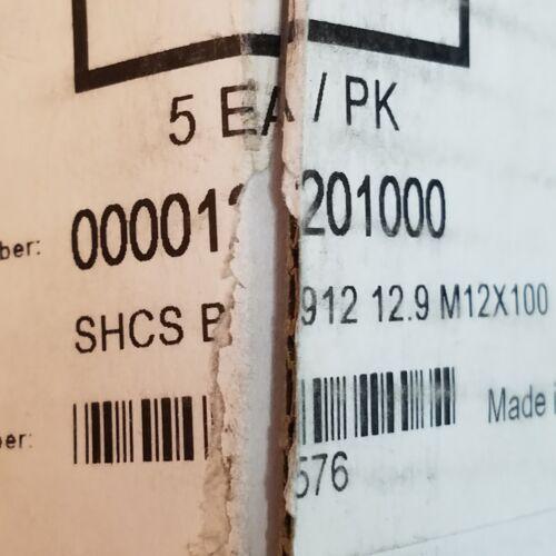 Box SBE Varvit SHCS M12-1.75x100mm Socket Head Cap Screw 12.9 Steel 5 Ct