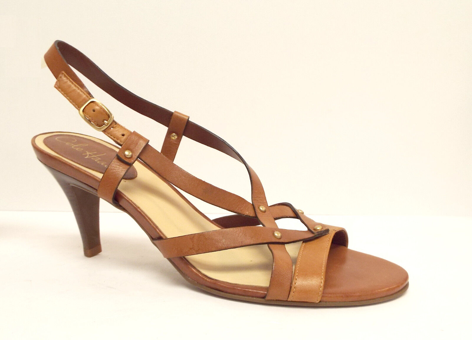 COLE Braun HAAN Größe 9 Tan Braun COLE Natural Leder Sandales Heels Schuhes 5ce9f3