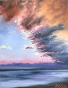 original oil painting sunset clouds landscape ocean seascape scene 11x14 canvas ebay details about original oil painting sunset clouds landscape ocean seascape scene 11x14 canvas
