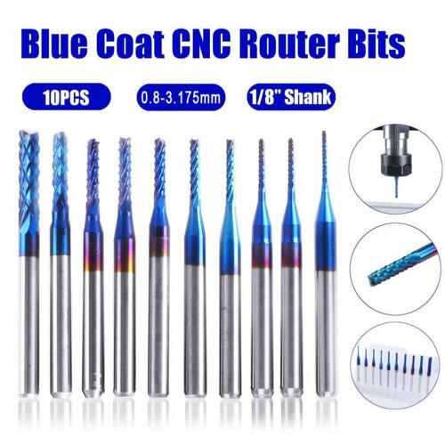 "10x Nano Blue Coat Spiral End Mill CNC Router Bits 0.8-3.175mm  Blade 1//8/"" Shank"