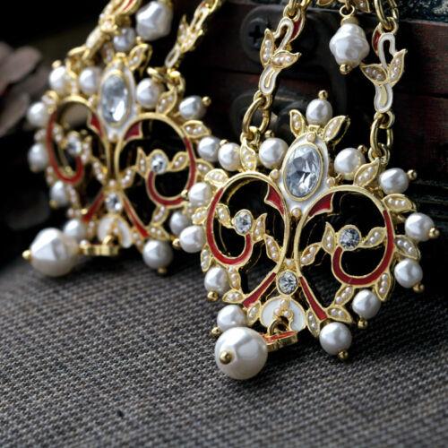 Boucles d/'Oreilles Clous Doré Gros Chandelier Filigrane Email Rouge Perle  XX 13