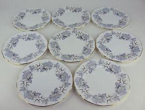 Set-8-x-Bread-Side-Plates-6-1-4-034-Royal-Albert-Silver-Maple-vintage-England