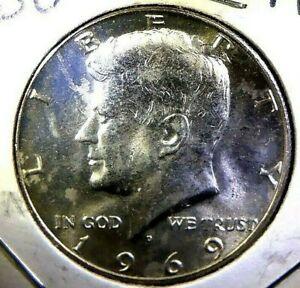 1969 D Kennedy Half Dollar 40/% Silver Choice BU US Coin