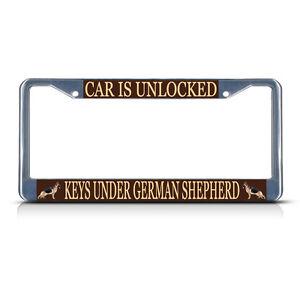 CAR-IS-UNLOCKED-KEYS-UNDER-GERMAN-SHEPHERD-DOG-Metal-License-Plate-Frame