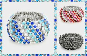 Statement-Bracelet-Metal-Bangle-Fashion-Crystal-Rhinestone-Bubble-Cluster-Stretc