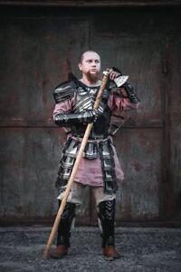 Medieval-Blackened-Steel-Dwarven-Full-Set-LARP-ARMOR-LOTR-Style-Cuirass