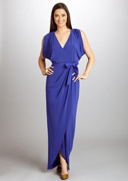 Nicole Miller V-Neck Cross Front Gown (Größe 6) Cobalt  NEW