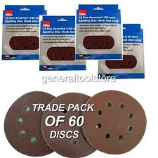 125mm Round Sander Sheets  60 pc 60, 80, 120 Grit Velcro Sanding Disc Pads Hilka