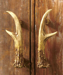 Ordinaire Image Is Loading Set Of 2 Rustic Deer Antler Cabinet Door