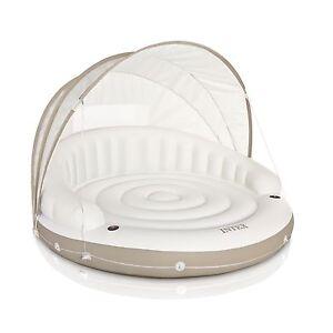 Intex-78-x-59-White-Inflatable-Pool-Canopy-Island-Lounge-Water-Raft-w-Sun-Shade