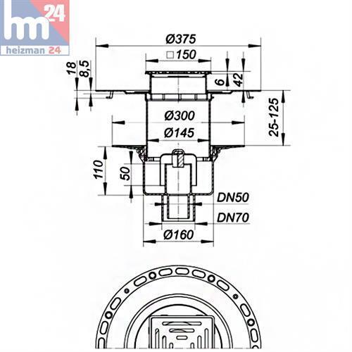 Dallmer dünnbett-sol d/'expiration set 61 HT//vc expiration DN 50//DN 70 150x150 mm 563231