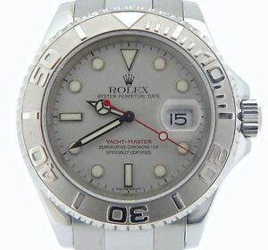 Rolex-Yate-Master-Hombre-Reloj-Acero-Inoxidable-Platino-Esfera-amp-Engaste-40mm