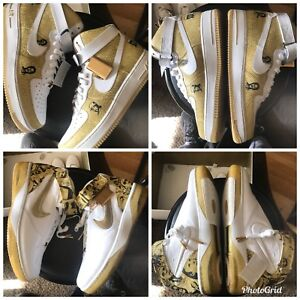 on sale a8702 6b7e3 Details about Nike Air Force One Gold-All Star Pack 25th Anniversary Sz  11.5 Off White lot