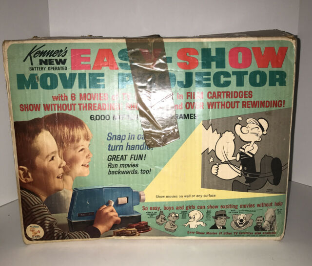1965 KENNER'S EASY SHOW PROJECTOR!! Popeye ON BOX COVER!! Comes With 5 Movies.